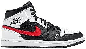 Tênis Nike Air Jordan 1 Mid - Black Chile Red