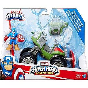 Boneco e Veículo Playskool - Marvel Super Hero - Capitão América e Veículo - Hasbro