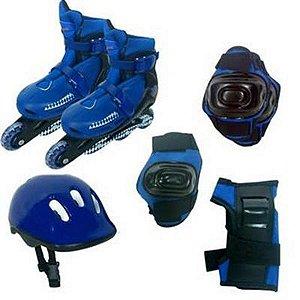Roller Patins In Line + Capacete + Kit Proteção Tamanho M (30 Ao 33 ) Radical Cor Azul - BLX8 3652