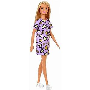 Boneca Barbie Fashion And Beauty Loira Vestido Roxo Corações - Mattel