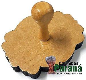 KIT - Carimbo De Madeira Personalizado 20x20cm + Almofada E Tinta