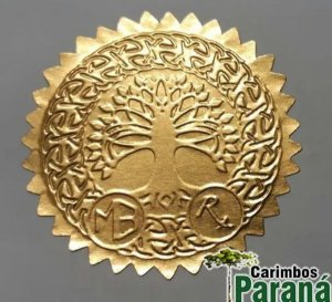 Etiquetas Douradas Para Chancela - Rolo Com 100 Unidades