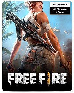 Free Fire 610 Diamantes + Bônus - Cartão Presente Digital