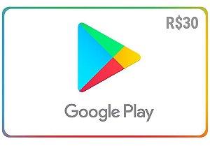 Gift Card Google play R$ 30 reais