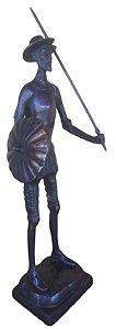 Dom Quixote Em Bronze Oxidado Estatueta Miguel De Cervantes