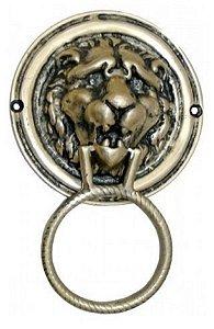 Aldrava Leão Feroz Batedor De Porta Bronze Batente