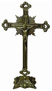 Crucifixo De Mesa Altar Todo Trabalhado Bronze Igreja Padres