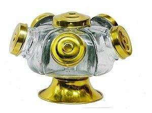 Baleiro Giratório Em Vidro 5 Potes 28 Cm Amarelo Bomboniere Família Crianças