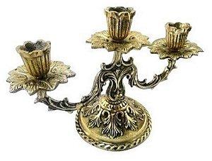 Castiçal Para 3 Velas Em Bronze Floral Decorações Presentes Missas