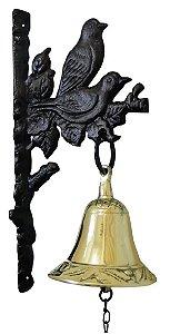 Sino Decorado De Parede Em Bronze E Alumínio Pássaros Pretos