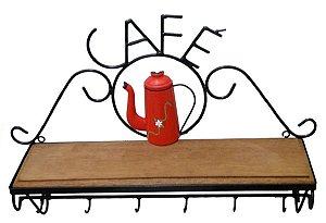 Prateleira Em Ferro E Madeira Rústica Café Estante Vermelha