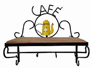 Prateleira Em Ferro E Madeira Rústica Prateleira Café Amarela