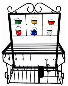 Prateleira Ferro Grande Porta Pratos Talheres Cozinha Color