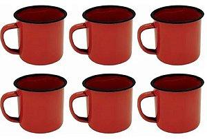 Canecas Esmaltadas Vermelhas 80 Ml Café Chá Xícaras 6 Peças
