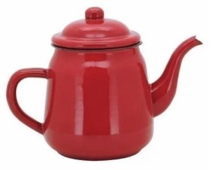 Bule Vermelho Esmaltado 1 Litro Café Chá Rústico Lar Vintage