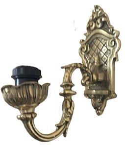 Arandela Castiçal De Parede Em Bronze Luminária Elétrica*