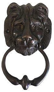 Aldrava Leão 18 X 10 Cm Batedor De Porta Bronze Oxidado Casa*
