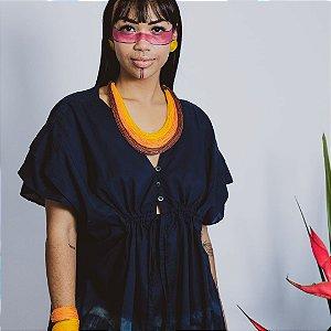 kimono Bandage Marinho algodão