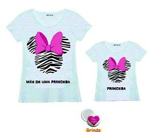 Kit  Camiseta Personalizada Tal Mãe tal Filha ( um espelho de bolsa de brinde )