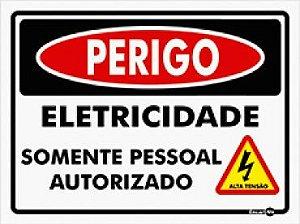 Placa Perigo Eletricidade Somente Pessoal Autorizado 20X15CM PS807