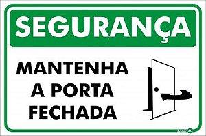 Placa Segurança Manter Porta Fechada PR1004 30X20CM