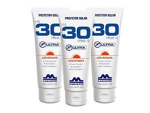 Protetor Solar Mavaro FPS 30 Com Repelente 120G kit com 3 unidades