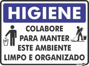 Placa Higiene Manter Ambiente Limpo/Organizado Ps854 30x20cm