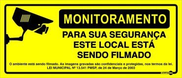 Placa Monitoramento Local Filmado C/Lei Ps646 30x13
