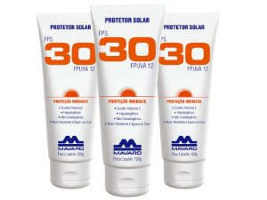 Protetor Solar Mavaro FPS 30 120G Kit com 3 Unidades