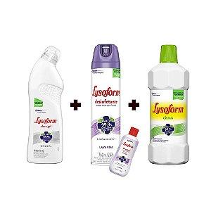 Lysoform Kit de Limpeza e desinfecção com 3 e Ganha um Frasco de Álcool em Gel