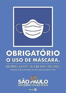 Obrigatório O Uso De Máscara - Decreto Estadual Nº 64959 SP  PS69 20x30