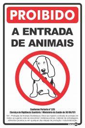 Placa Proibido A Entrada De Animais  Ps298 20x30