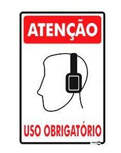 Placa Uso Obrigatório (Fones De Ouvido) 20 x 30 Ps82