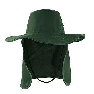 Chapéu Pescador Árabe Com Protetor de Nuca Verde Escuro Brim