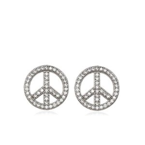 Brinco de Prata Zircônia Símbolo da Paz