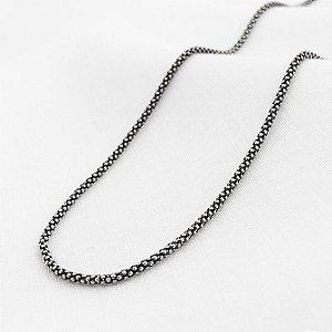Corrente de Prata Pipoca Envelhecida de 1,4 mm com 45 cm