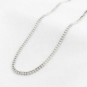 Corrente de Prata Bolinhas Duplas com 40 cm