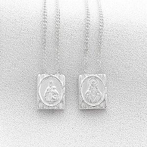 Escapulário de Prata com Medalha Retangular Nossa Senhora do Carmo e Sagrado Coração de Jesus