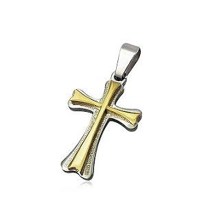 Pingente de Aço Cruz com Dourado