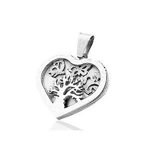 Pingente de Aço Coração e Árvore da Vida