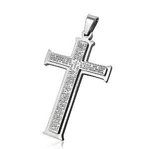 Pingente de Aço Cruz Oração Pai-Nosso