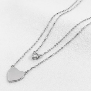 Colar de Prata Duplo Ponto de Luz e Coração