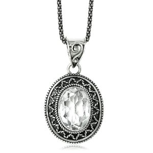 Pingente Cristal Oval Prata 925