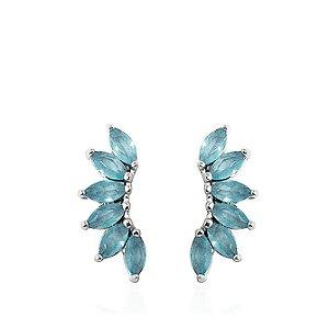 Brinco de Prata Ear Cuff Zircônias Azul Claro