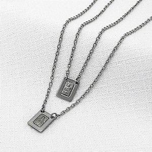Escapulário de Aço Nossa Senhora do Carmo e Sagrado Coração de Jesus com 7,3 mm