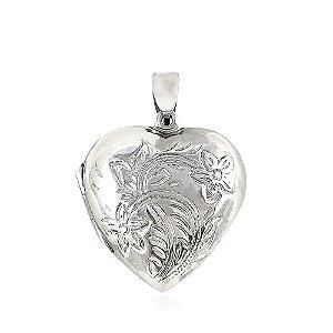 Pingente Relicário Coração com Flores Prata 925