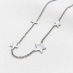 Colar Aço Estrelas