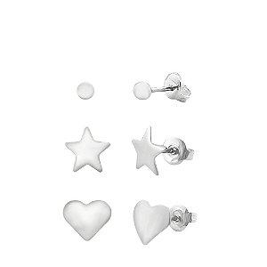 kit Brincos de Prata com Bolinha, Estrela e Coração