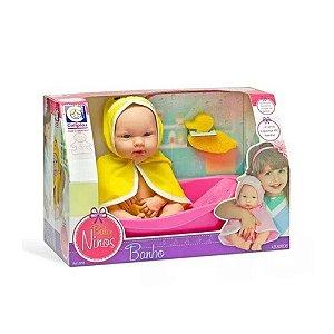 Boneca Infantil Baby Ninos Banho