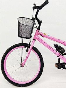 Bicicleta Aro 20 Barbie Grafitada Rosa com Cesta